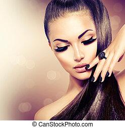 beauty, mannequin, meisje, met, lang, gezonde , bruin haar