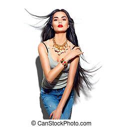 beauty, mannequin, meisje, met, lang, recht, vliegend haar