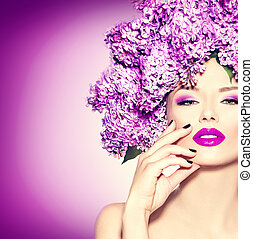 beauty, mannequin, meisje, met, sering, bloemen, hairstyle