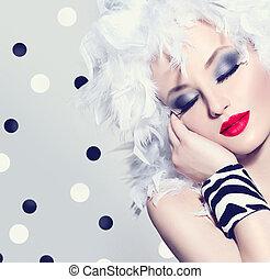 beauty, mannequin, meisje, met, witte , veertjes, hairstyle