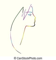 Beauty. Minimalistic female profile, several lines