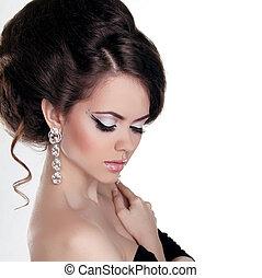 beauty., moda, bonito, make-up., noite, isolado, retrato, branca, penteado, mulher, jóia, experiência.