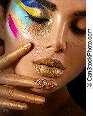 beauty, mode, kunst beeltenis, van, mooie vrouw, met, kleurrijke, abstract, makeup