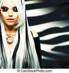beauty, mode, meisje, zwart wit, stijl