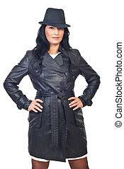 Beauty model female in leather jacket