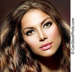 beauty, model, girl., gezonde , en, glanzend, haar