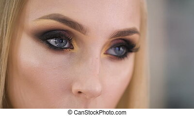 Beauty Model with Perfect Fresh Skin and Long Eyelashes. Youth and Skin Care Concept. Spa and Wellness. Make up and Hair. Lashes.
