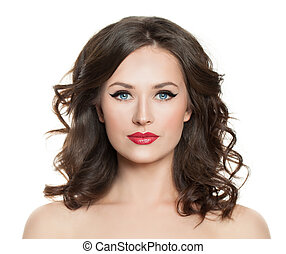Beauty model woman. Girl with makeup and curly hair isolated on white background