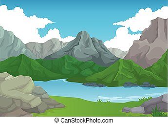 beauty mountain with lake bakcgroun