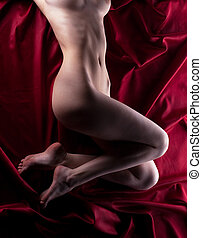 Beauty naked body on red - Young beauty naked woman body lay...