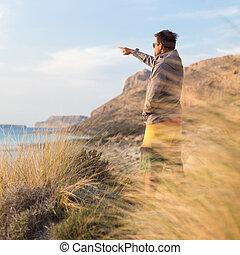 beauty, nature., kosteloos, actief, het genieten van, man