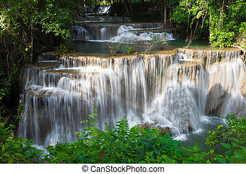 Beauty of multiple stream waterfall in tropical deep forest
