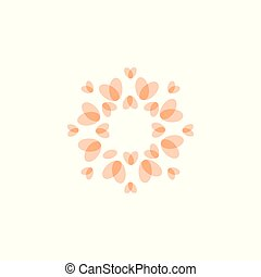 Beauty of nature icon. Butterfly wings shaped rose petals. Concept design for spa and organic cosmetics, fashion and yoga salon. Isolated vector round logo concept. Tender pink color logotype.