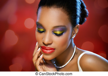 Beauty On Red - Beautiful African woman in red glitter...