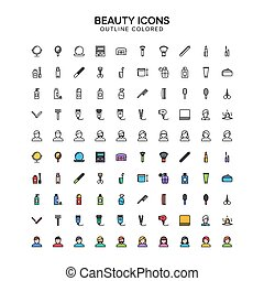 beauty outline colored icons