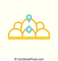 beauty pageant crown, jewelry related icon, flat design.