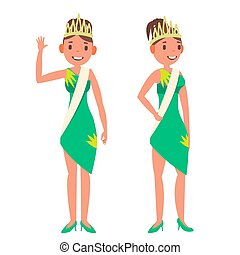 Beauty Pageant Vector. Woman On Beauty Pageant. Fashionable Woman. Miss Universe. Isolated Flat Cartoon Illustration