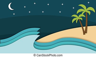 Beauty Paper cut of night beach vector illustration, good for abstract background,wallpaper and backdrop