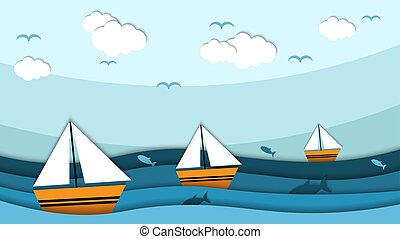 Beauty Paper cut of sailing boat vector illustration, good for abstract background,wallpaper and backdrop