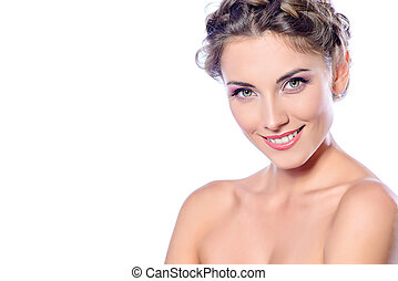 beauty parlor - Beautiful female face with pure skin and...