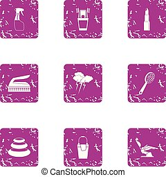 Beauty parlour icons set. Grunge set of 9 beauty parlour vector icons for web isolated on white background