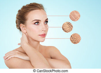 beautiful young woman face with dry skin sample