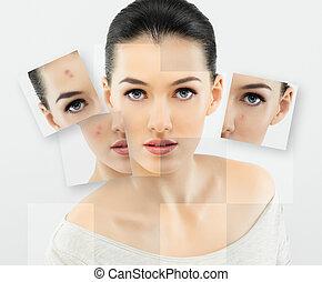 beauty portrait - a beauty girl on the grey background