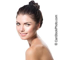 Beauty Portrait. Beautiful Spa Girl Face. Perfect Fresh Skin