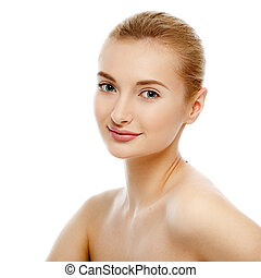 Beauty Portrait. Beautiful Woman Touching her Face. Perfect Fresh Skin. Isolated on White Background. Pure Beauty Model. Youth and Skin Care Concept. High key studio shot