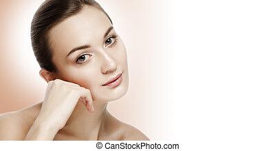 Beauty Portrait Beautiful Young Woman Touching Face