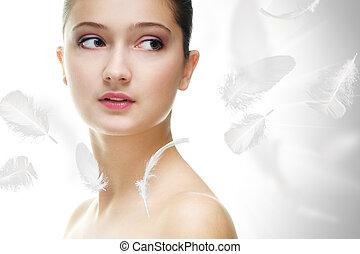 beauty portrait - beauty girl on the grey background