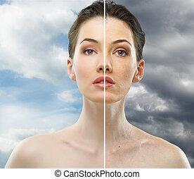 beauty portrait - beauty girl on the sky background