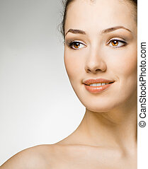 beauty portrait - beauty girl on the white background