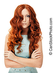Beauty Portrait. Curly Hair. Isolated