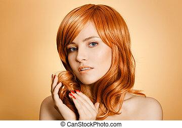 Beauty Portrait. Curly Long Hair