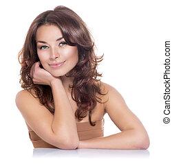 beauty, portrait., duidelijk, fris, skin., skincare