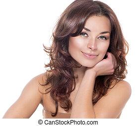 beauty, portrait., duidelijk, skin., fris, skincare
