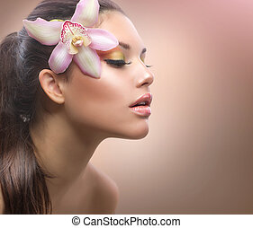beauty, portrait., mooi, modieus, meisje, met, orchidee, bloem