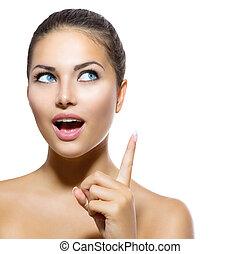 beauty, portrait., mooi, spa, meisje, het tonen, vinger, op