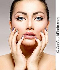 beauty, portrait., mooi, spa, vrouw, aandoenlijk, haar, gezicht