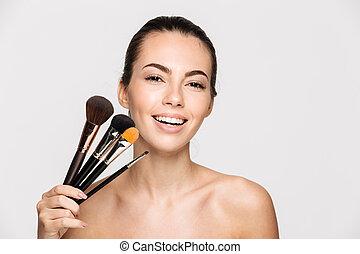 Beauty portrait of a happy beautiful half woman