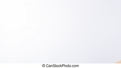 Beauty portrait of a smiling blonde woman in professional studio