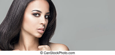 Beauty portrait of african natural girl.