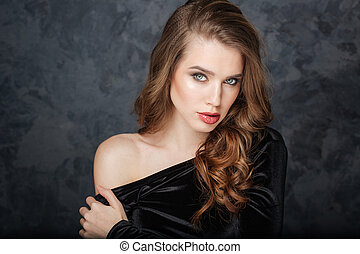 Beauty portrait of alluring pretty young woman