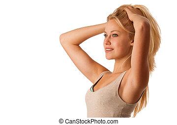 Beauty portrait of attractive blonde woman