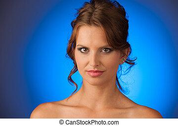 beauty portrait of attractive brunette girl