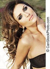 Beauty portrait of attractive brunette woman