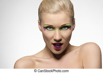 beauty portrait of blonde girl with open mouth