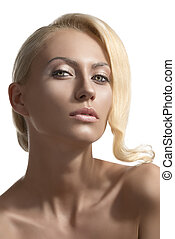 beauty portrait of blonde girl with sensual expression