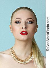 Beauty portrait of blonde woman